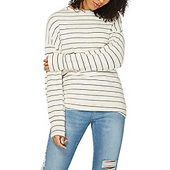 Dorothy Perkins - Grey and ivory striped brushed batwing top