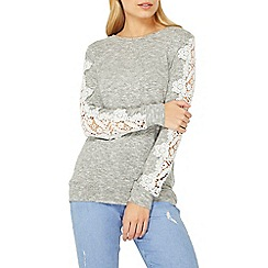 Dorothy Perkins - Grey lace insert sweat top