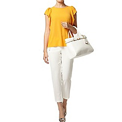 Dorothy Perkins - White textured crop trousers