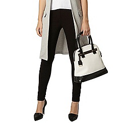 Dorothy Perkins - Black stretch trouser with leather look trim
