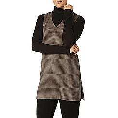 Dorothy Perkins - Navy and camel dogtooth tunic top