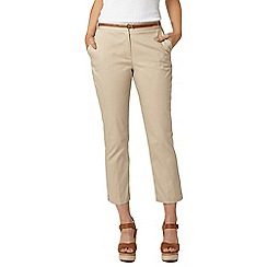 Dorothy Perkins - Stone belted cotton crop trousers