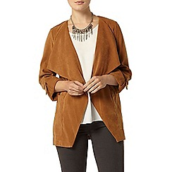 Dorothy Perkins - Tan suedette jacket with roll sleeve and waterfall front detail