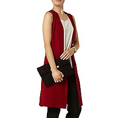 Dorothy Perkins - Wine woven sleeveless jacket