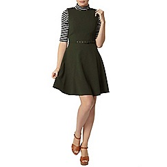 Dorothy Perkins - Green belted skater dress
