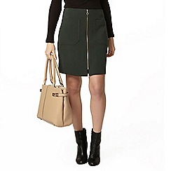 Dorothy Perkins - Green zip a line skirt