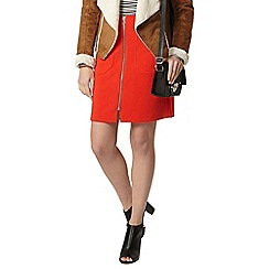 Dorothy Perkins - Red zip front a line mini skirt