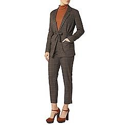 Dorothy Perkins - Grey check tie waist jacket