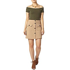 Dorothy Perkins - Camel button front skirt