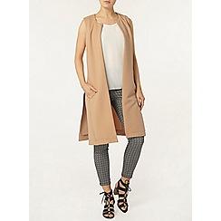 Dorothy Perkins - Camel rib sleeveless jacket