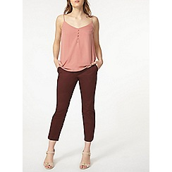 Dorothy Perkins - Chocolate cotton sateen crop trouser