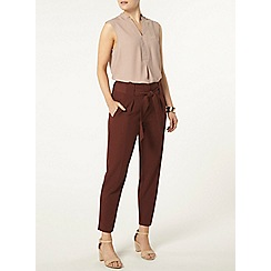 Dorothy Perkins - Chocolate topstitch peg trousers