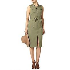 Dorothy Perkins - Khaki sleeveless shirt dress