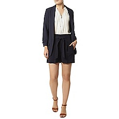 Dorothy Perkins - Navy topstitch tie shorts