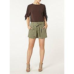 Dorothy Perkins - Khaki topstitch tie shorts