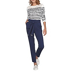 Dorothy Perkins - Navy tie waist tapered trousers