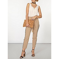 Dorothy Perkins - Camel tie waist tapered trousers