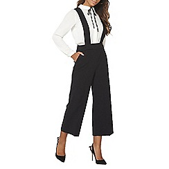 Dorothy Perkins - Black braces wide crop jumpsuit