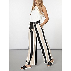 Dorothy Perkins - Black and blush stripe wide leg trousers