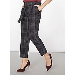 Dorothy Perkins - Navy check belt straight leg trousers