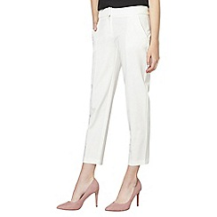 Dorothy Perkins - Ivory side tab ankle grazer trousers
