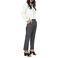 Dorothy Perkins - Grey cross hatch ankle grazer trousers