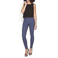 Dorothy Perkins - Tall blue zig zag bengaline trousers