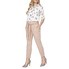 Dorothy Perkins - Stone top stitch tie tapered trousers