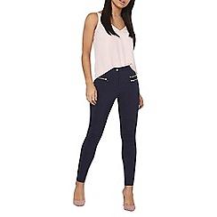 Dorothy Perkins - Navy chunky zip bengaline trousers