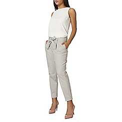 Dorothy Perkins - Grey cotton tie waist tapered trousers