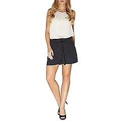 Dorothy Perkins - Navy spotted tie waist shorts