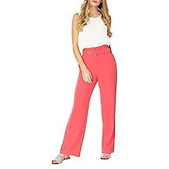 Dorothy Perkins - Pink belt paperbag wide leg trousers
