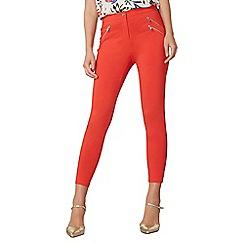 Dorothy Perkins - Coral zip crop bengaline trousers