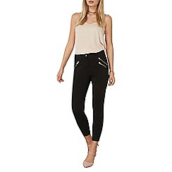 Dorothy Perkins - Black zip crop bengaline