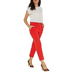 Dorothy Perkins - Red tapered belted trousers