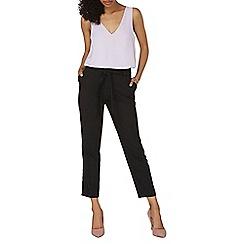 Dorothy Perkins - Black crepe tie waist tapered trousers