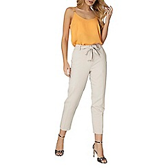 Dorothy Perkins - Silver crepe tie waist tapered trousers