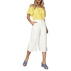 Dorothy Perkins - Ivory split wide crop trousers