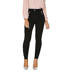 Dorothy Perkins - Black pull on button treggings