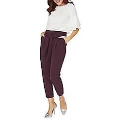 Dorothy Perkins - Purple crepe tie waist tapered trousers