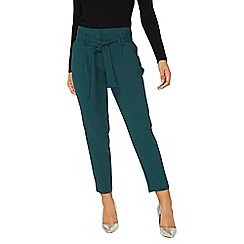 Dorothy Perkins - Teal high waist tie tapered leg trousers
