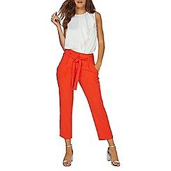 Dorothy Perkins - Orange zip tie tapered trousers