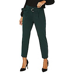 Dorothy Perkins - Green d-ring tapered leg trousers