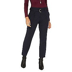 Dorothy Perkins - Navy d-ring tapered leg trousers