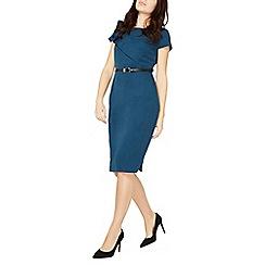 Dorothy Perkins - Teal ruffle belt pencil dress