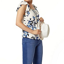 Dorothy Perkins - Ivory and blue butterfly top