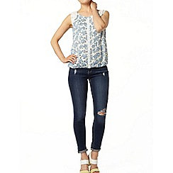 Dorothy Perkins - Ivory and blue floral shell top