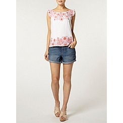 Dorothy Perkins - Ivory and pink floral shell top