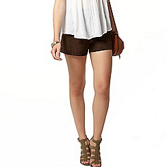 Dorothy Perkins - Premium chocolate suede shorts