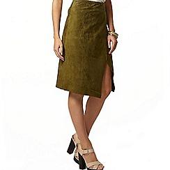 Dorothy Perkins - Premium khaki suede wrap skirt